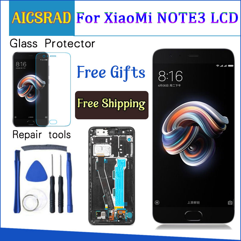 For Xiaomi Mi Note 3 LCD Display+Touch Screen With Fingerprint FPC Digitizer Screen Glass Panel For Xiaomi Mi Note 3 LCD