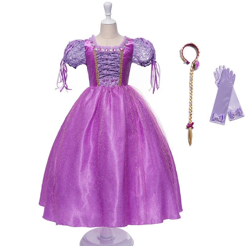 Girls Amethyst Queen Fantasy Fairy Tale Princess Fancy Dress Costume Kids Purple