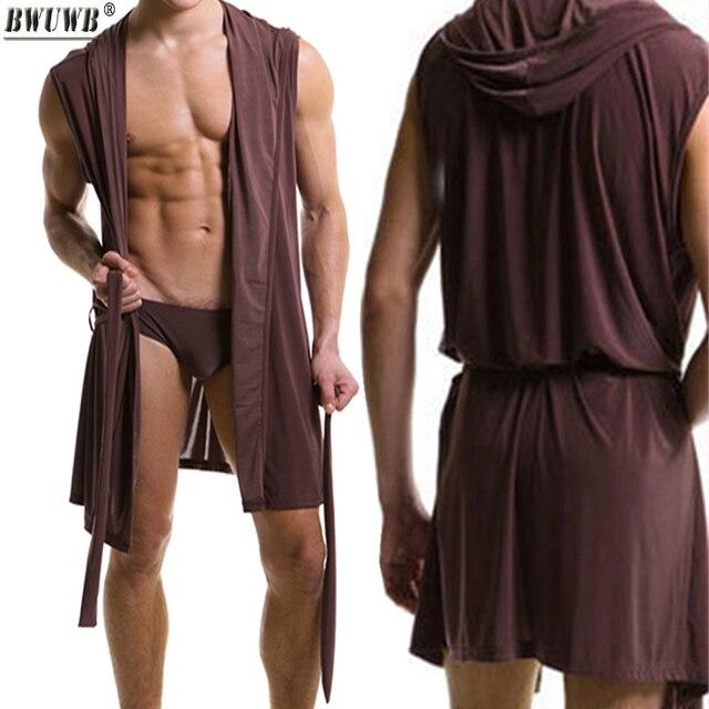 Sexy Men's Underwear Plus Size Slippers Sleeveless Silky Pajamas Nightgown Robes Bathrobe Hooded Tracksuit Home Sleepwear