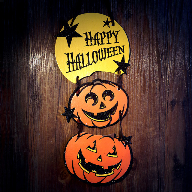 harvest thanksgiving halloween party supplies creative pumpkin door decorations bar cafe atmosphere doorplate bat pumpkin ghost - Halloween Party Store