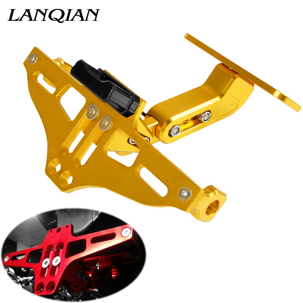 Universal Motorcycle License Plate Bracket With Light For FOR SUZUKI GSX S1000 GS 125 GLADIUS S 750 500 E DRZ 400