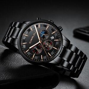 Image 3 - Crrju男性ステンレス鋼クォーツ防水時計多機能クロノグラフ日付表示腕時計黒レロジオ