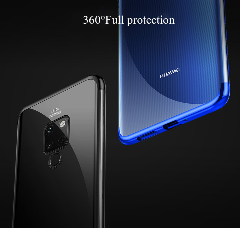 For Huawei mate 20 pro Case Transparent Plating Silm case for Huawei Mate 20 Lite Ultra thin electroplate tpu shining case cover in Fitted Cases from Cellphones Telecommunications