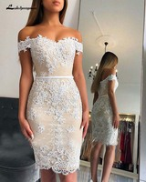 2019 Knee length Appliques Lace Bridesmaid Gowns Sheath Sweetheart Off Shoulder Wedding Guest Gowns Custom made Prom Party Dress