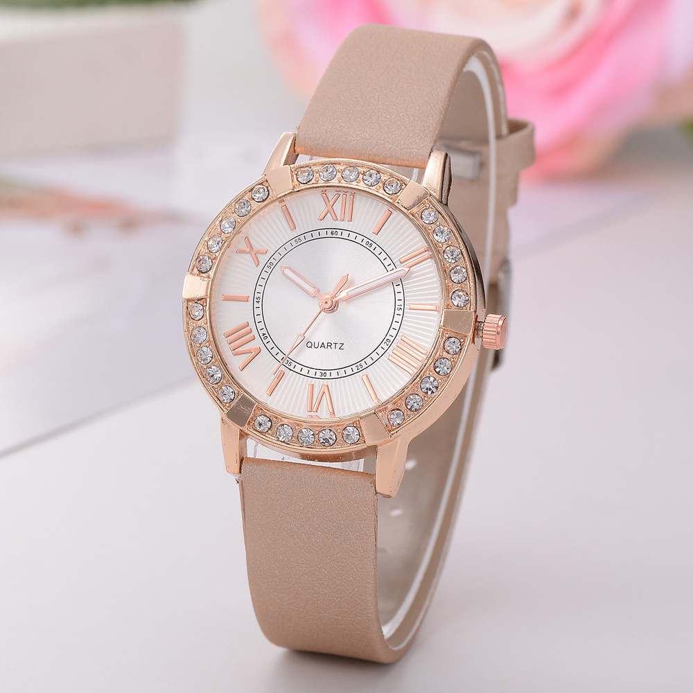 Women Watch Fashion Women's Artifical Diamond Leather Band Crystal Analog Alloy Quartz Watch relogio feminino цена