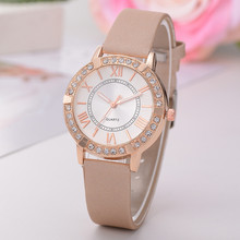 Women Watch Fashion Women's Artifical Diamond Leather Band Crystal Analog Alloy Quartz Watch relogio feminino(China)