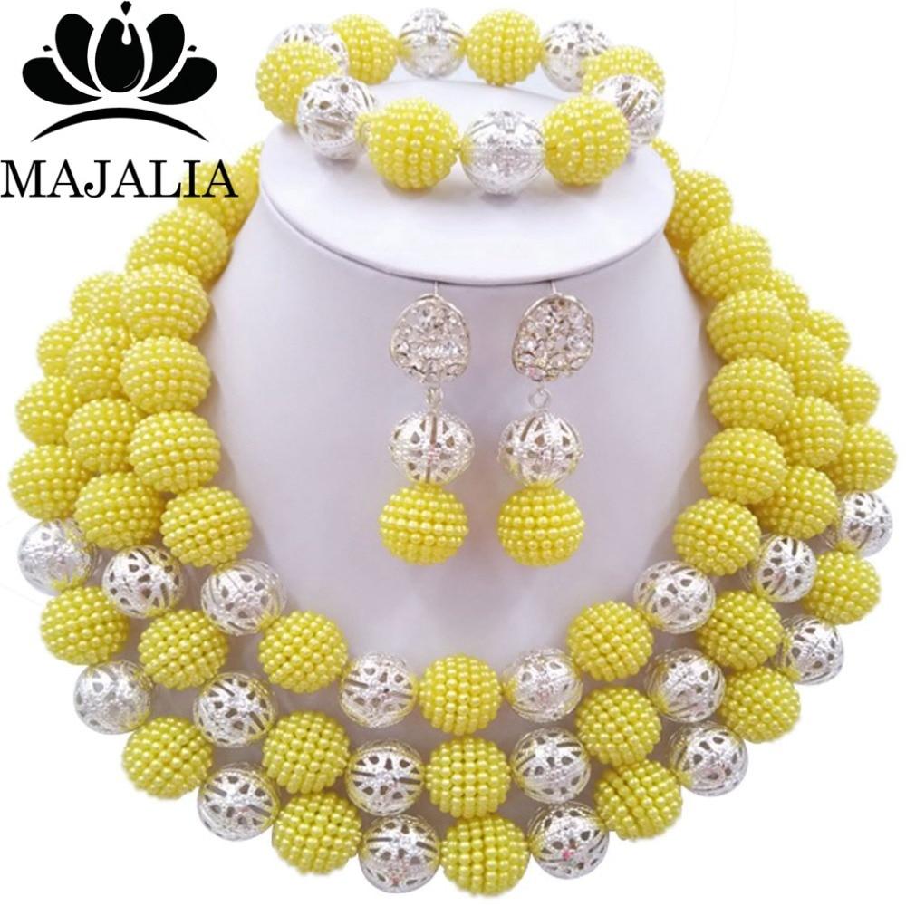 Nigéria mariage perles africaines ensemble de bijoux jaune en plastique collier de perles ensembles de bijoux de mariée livraison gratuite YJ-280