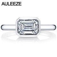 에메랄드 화려한 컷 2.6CT 시뮬레이션 다이아몬드 9 천개 화이트 골드 반지 현대 베젤 세트 다이아몬드 솔리테어 링 약혼