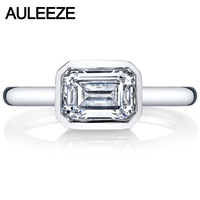 Emerald Brilliant Cut 2 6CT Simulated Diamond 9K White Gold Ring For Women Modern Bezel Set