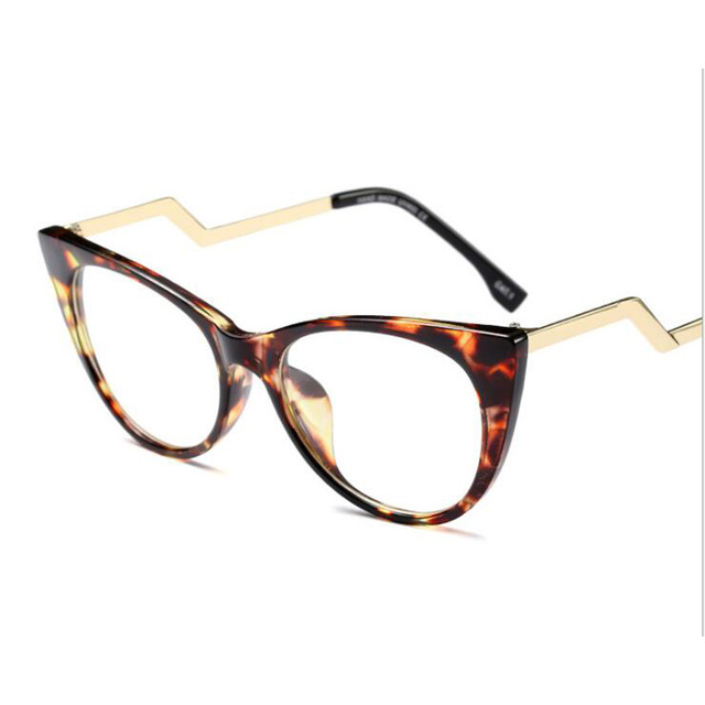 Cat Eye Glasses Frame Women Vintage Brand Metal Curved Legs Clear ...