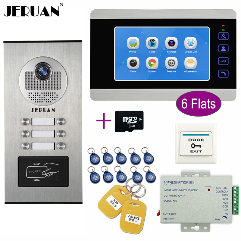 JERUAN Apartment 7`` Video Doorbell Door Phone Video/Voice Record Intercom System Kit HD RFID Access Camera For 6 Households+8G jeruan wired 9 inch video doorbell door phone intercom system kit hd rfid access camera for 6 households apartment in stock