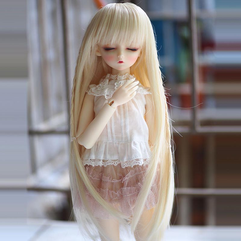 New Arrival 1/3 1/4 1/6 Bjd SD Doll Wig Wire Long Light Blonde High Temperature BJD Super Dollfiles Doll Hair Wig