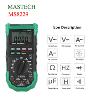 MASTECH Digital Diagnostic Tool Auto Range Multimeter LCD Backlight W Noise Illumination Temperature Humidity Tester