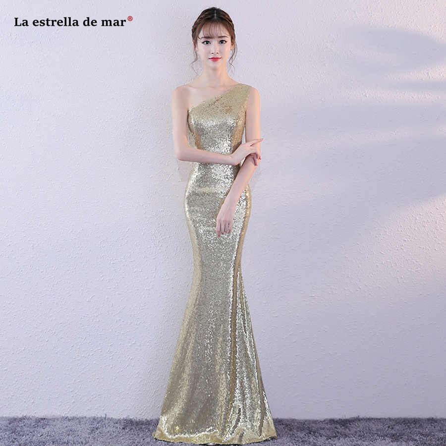 Vestido madrinha 2018 new one shoulder sequins sexy mermaid gold rose gold champagne gold   bridesmaid     dress   long cheap
