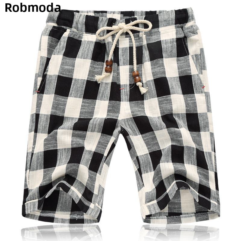 2019 summer Casual loose wild straight breathable short pants Fashion male clothing Drawstring plaid shorts men Elastic waist in Casual Shorts from Men 39 s Clothing
