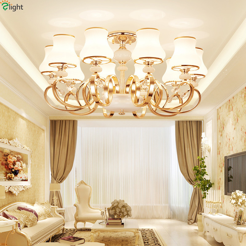 ⃝Moderno oro metal LED Candelabros mármol cristal comedor LED ...