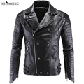 Leather Jacket Men Turn-down Collar Jaqueta De Couro Masculina PU Mens Leather Jackets Skull Punk Veste Cuir Homme nswt3071
