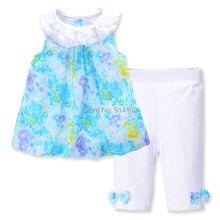 Boutique Enfants Filles Vêtements Robe Costume Fleur D'o-Cou En Mousseline de Soie Robe et Pantalon Ensembles D'été Enfants Fille Blouses Bébé Vêtements Ensemble