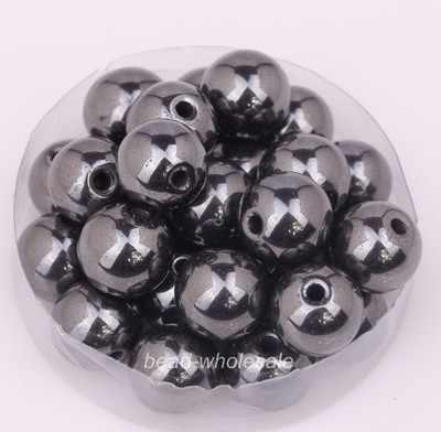 OMH venta al por mayor 4mm 6mm 8mm 10mm 12mm bola negro Color magnético hematita hallazgos espaciador cuentas pulsera de cuentas
