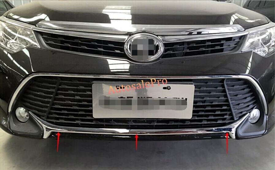 Для Toyota Camry спорта 2015 Хром Передняя решетка Нижняя Бампер протектор полоса накладка