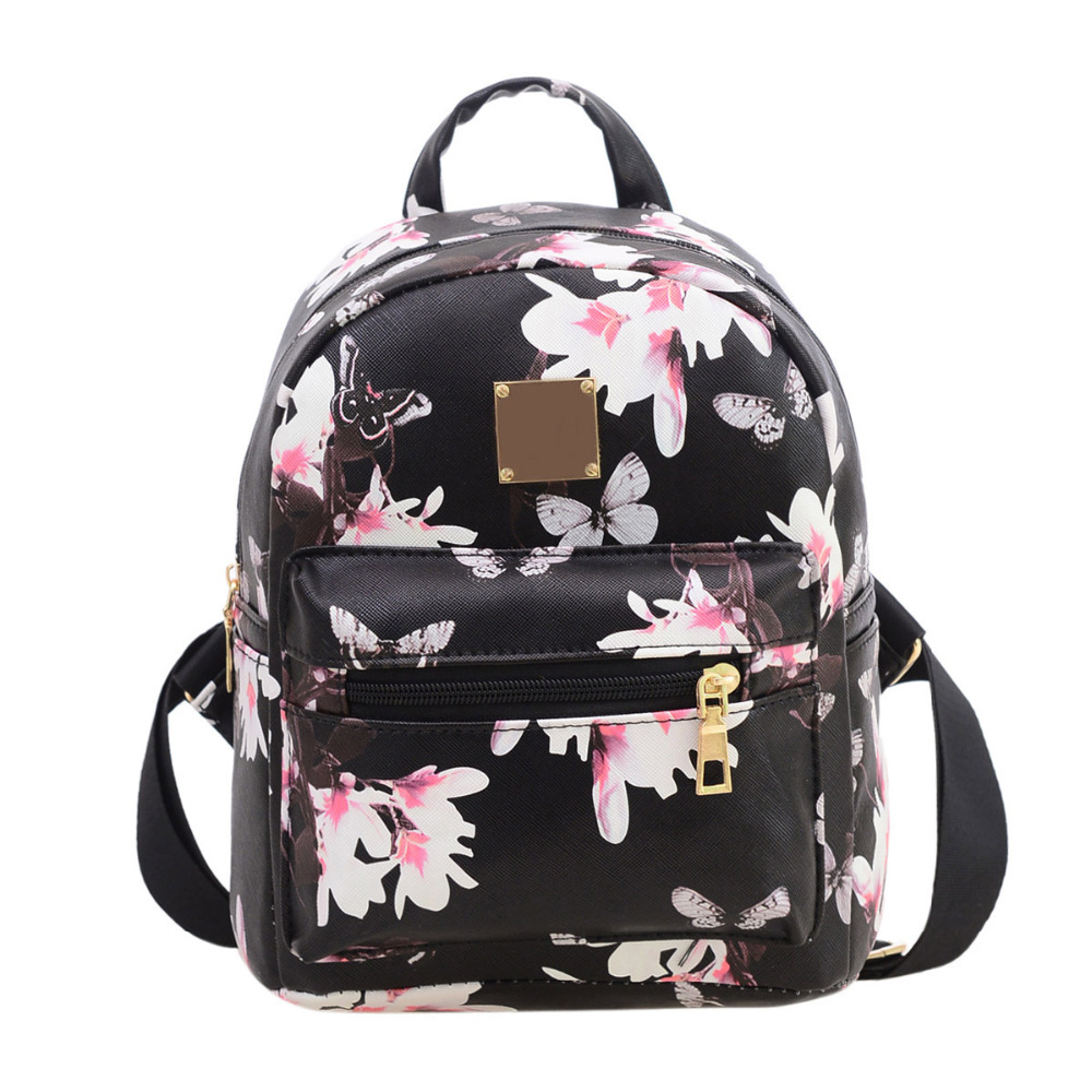 Fashion Causal Travel Women Backpack Floral Printing PU Leather Rucksack Teenagers Girls School bags High Quality Mochila new207 women backpack high quality pu leather mochila escolar school bags for teenagers girls top handle backpacks fashion
