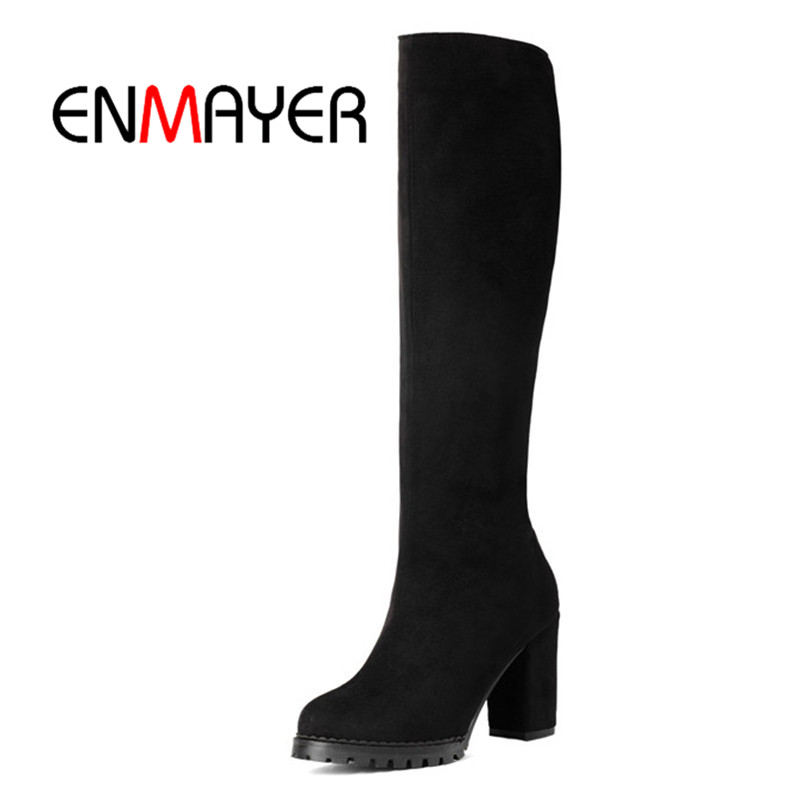 ENMAYER New Arrival women solid round toe square heel zip knee high boots lady Big size 34-43 ZYL