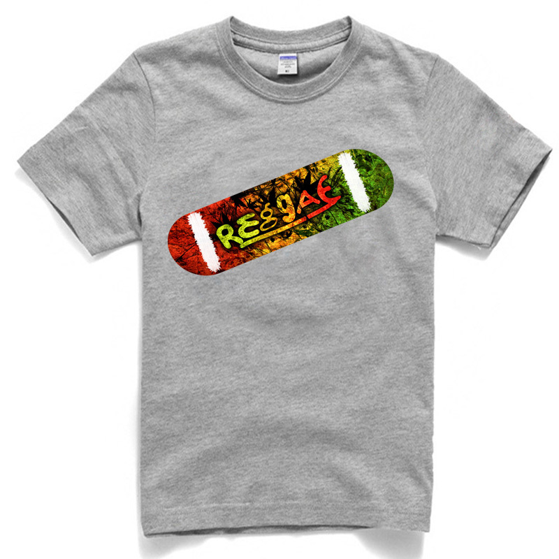 reggae skatebord t shirt pure cotton white grey and black 3 s