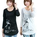 Nova camisa 2016 da forma t de inverno cobre t camisetas de manga longa para as mulheres t-shirt de algodão bonito dos desenhos animados do sexo feminino camisetas mujer