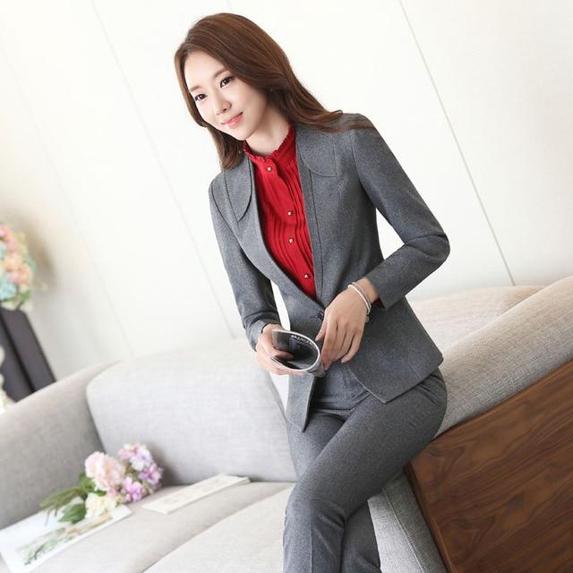 Plus Size 3XL 2016 Autumn Winter Professional Female Pantsuits With Jackets And Pants Ladies Trousers Set Blazers Pants Suits