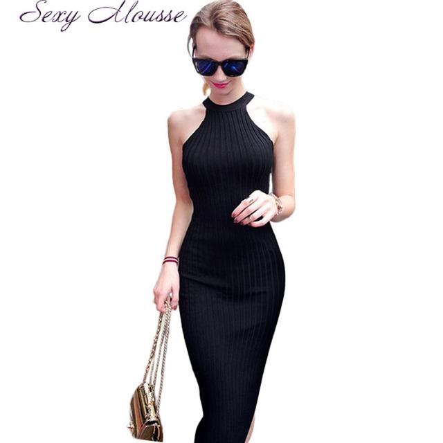 Las mujeres a Largo tejer Vestido 2016 Primavera Sexy Vestidos Ajustados Delgado Elástico Flaco Partido Breve Vestido Halter Negro vestidos