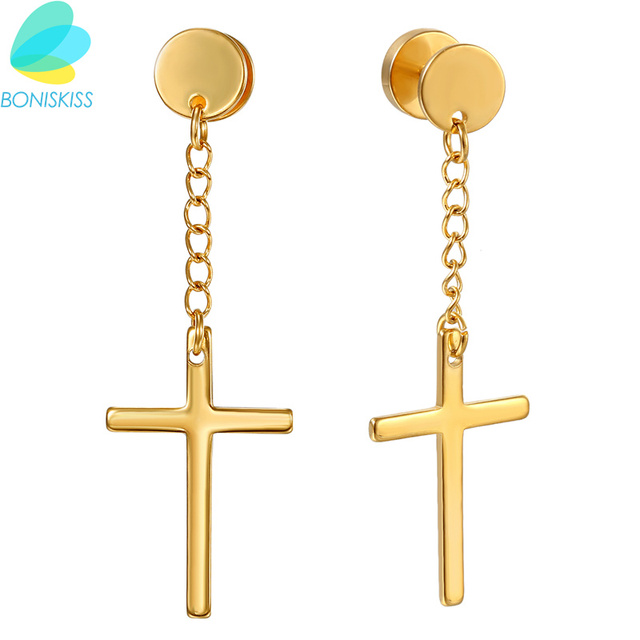 Boniskiss New Religion Type Cross Stud Earrings For Women Men Gold Color Stainless Steel Earring Jewelry