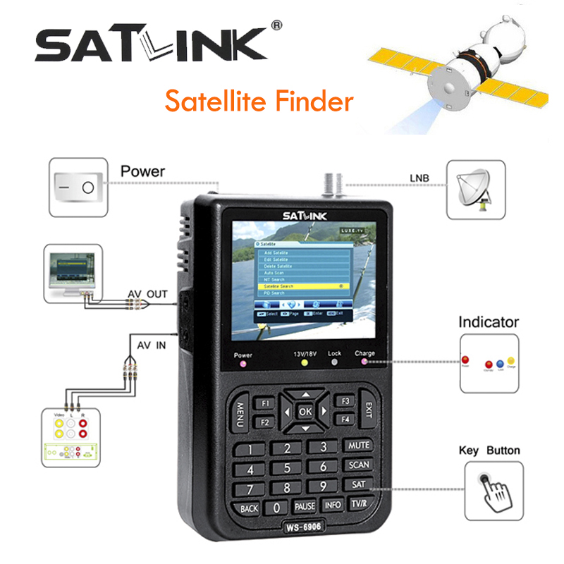 Satlink WS-6906 Digital Satellite Meter Sat finder DVB-S FTA C&KU Band MPEG-2 Satellite Signal Finder EPG AV 3.5inch LCD Display satlink ws 6922 rechargeable 3 5 color screen hd satellite finder w av usb black