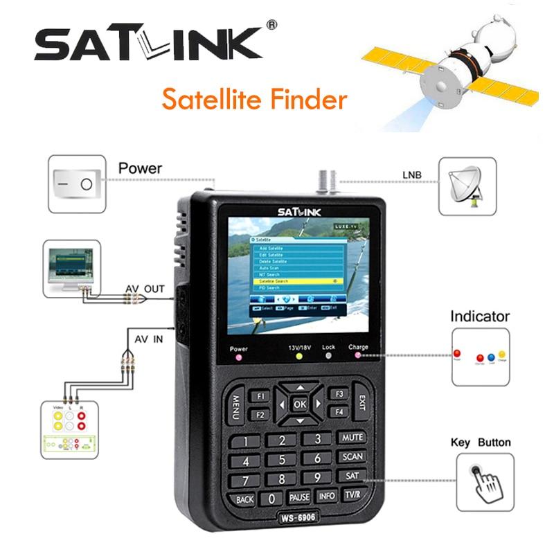 Satlink WS 6906 Digital Satellite Meter Sat finder DVB S FTA C&KU Band MPEG 2 Satellite Signal Finder EPG AV 3.5inch LCD Display