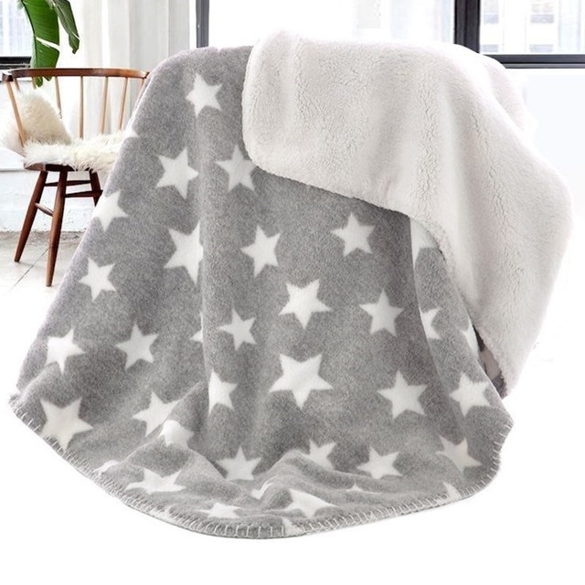 Baby Blanket Thermal Coral Fleece Star Blanket Infant Swaddle Nap