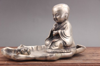 Exquisite China tibet silver carved monk Cupronickel statue