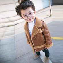 Детская куртка коллекция года; вельветовое плотное зимнее детское замшевое пальто для мальчиков новая куртка байкерские пальто для маленьких мальчиков одежда для малышей Детская верхняя одежда