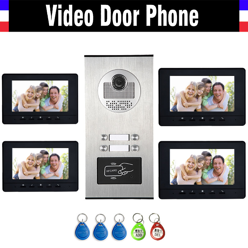 4 Units Apartment Intercom System Video Intercom Video Door Phone Kit HD Camera 7 Monitor with