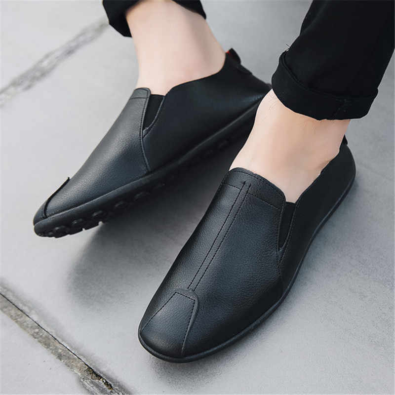 Yeni İtalyan Deri Erkek rahat ayakkabılar Lüks Marka Erkek Loafer'lar Moccasins Nefes Kayma Siyah sürüş ayakkabısı Yumuşak Daireler 2019