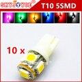 10X T10 192 168 194 W5W 5SMD t10 xenônio branco/azul/vermelho/verde/amarelo/rosa/roxo LED Light Bulb Wedge Lâmpada estilo Do Carro levou