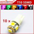 10X T10 192 168 194 W5W 5SMD t10 xenon blanco/azul/rojo/verde/amarillo/rosa/púrpura Lámpara LED Light Bulb Wedge Car styling led