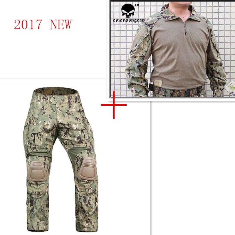 Airsoft Emerson bdu G3 uniforme de combate pantalones de camisa con la rodilla almohadillas Emerson BDU ejército militar AOR2 trajes de camuflaje EM8596 + 7049