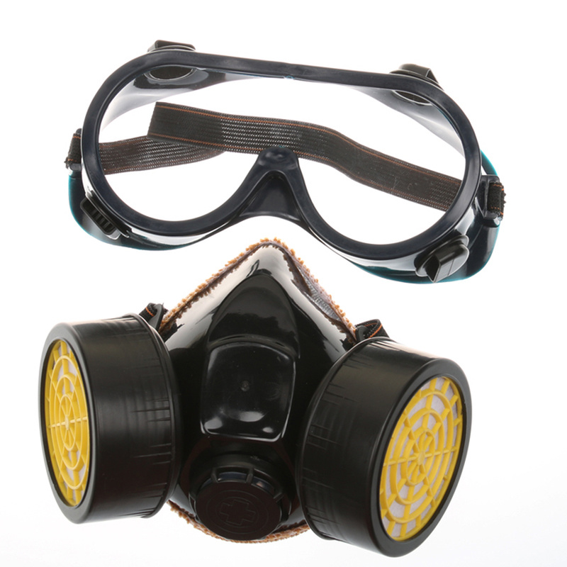 Breathable Double Can Activated Carbon Gas Mask With Eye Mask Set , Paint Spray Pesticide Formaldehyde Protective Respirator