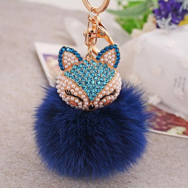 Artificial Rabbit Fur Ball Keychain Keyring