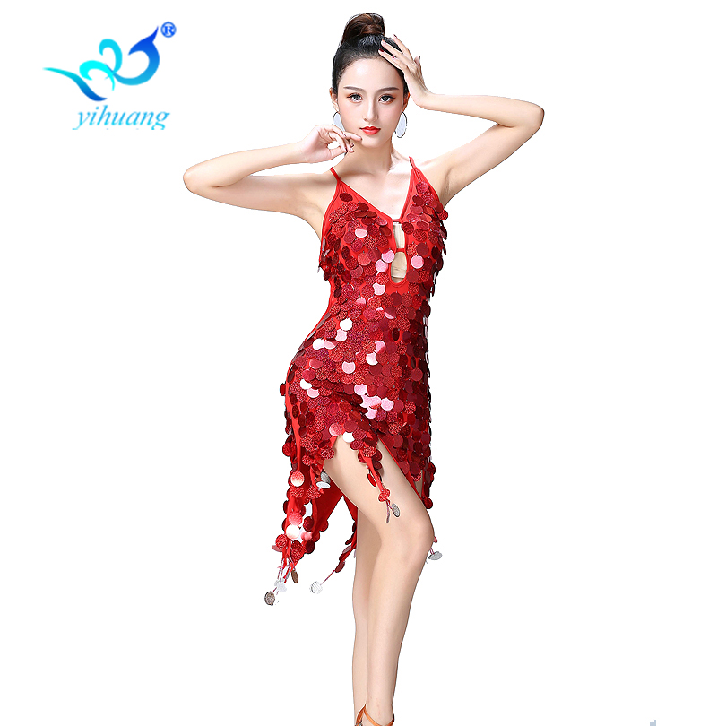 Sexy Dance Dress Sequin For Latin Ballroom Salsa Performance Costume Women Carnival Party Dresses Red Backless