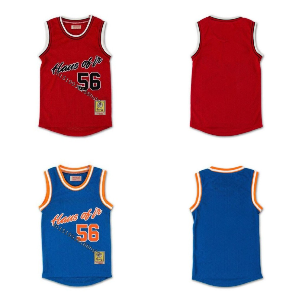 Mens #56 HAUS OF JR Mikey with Patch Throwback Movie Basketball Jersey Stitched S-4XL
