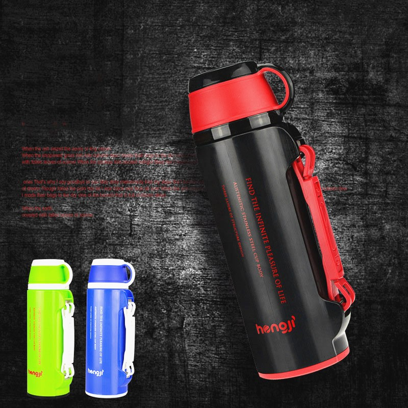 800ML Japanese Stainless Steel Metal Vacuum Thermos bottles Flask big insulated cup thermomug termos with brush