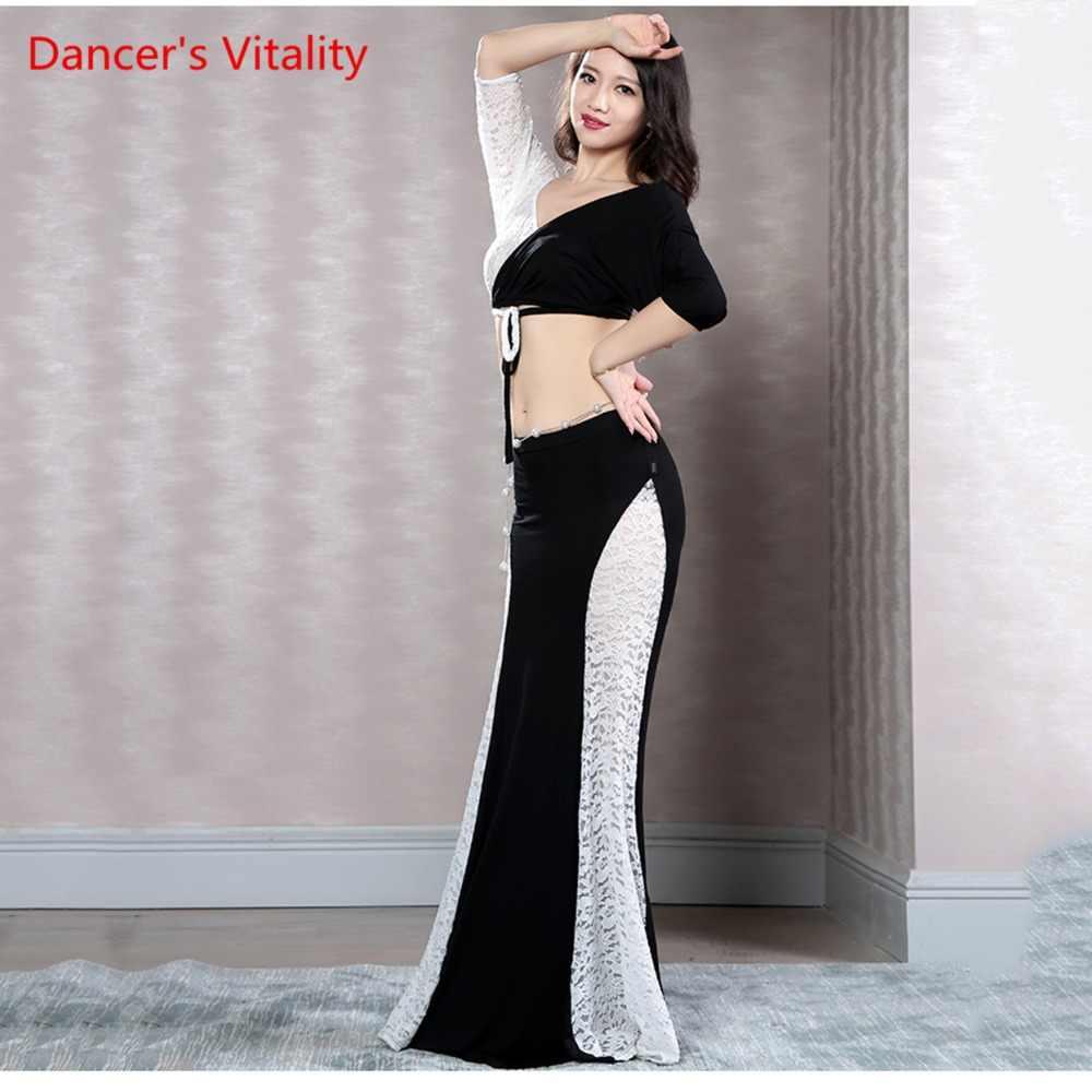 b6373c8cfa2a ... 2018 New Arrival Black vs White Mermaid Skirt Belly Dance Long Skirt 2-Piece  Lace ...