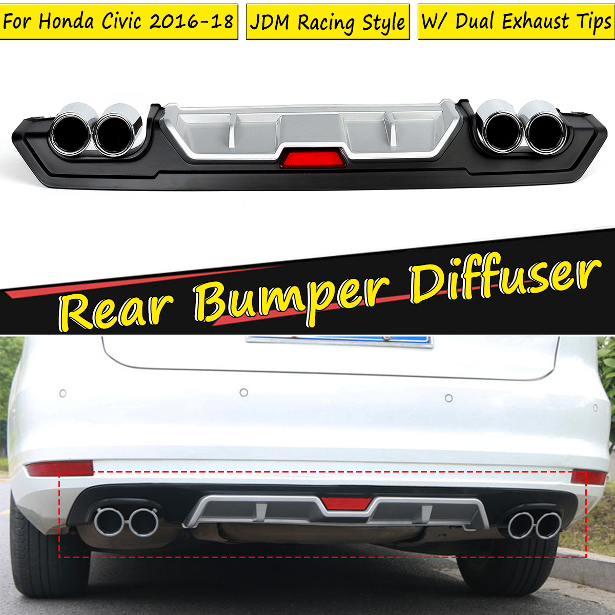 For Honda For Civic 2016 2017 2018 For JDM Rear Lower Bumper Diffuser Lip Cover with Dual ABS Special Outlet Pipe Exhaust DecorFor Honda For Civic 2016 2017 2018 For JDM Rear Lower Bumper Diffuser Lip Cover with Dual ABS Special Outlet Pipe Exhaust Decor