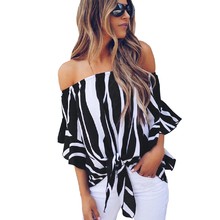 Sexy Women Off Shoulder Summer Chiffon Blouse Half Batwing Sleeves Casual Stretch Blouses Tops New ladies Striped Bow Blouse striped batwing sleeve blouse