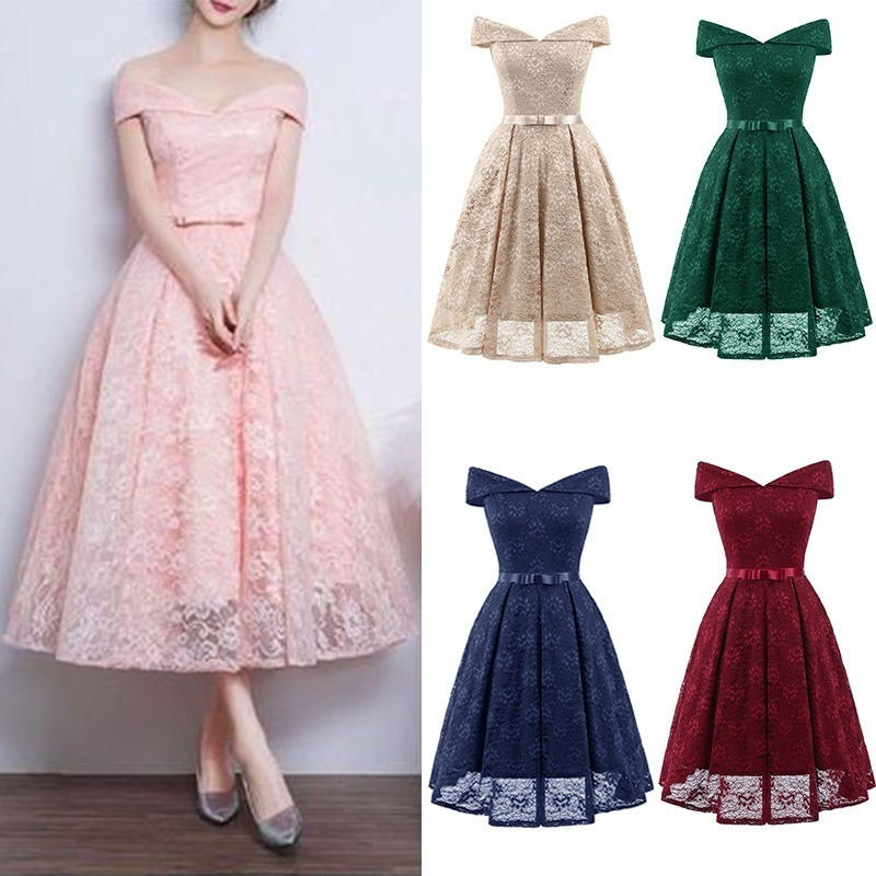 Short Bridesmaid Dresses Elegant A Line V Neck Off Shoulder Lace Formal Party Dress For Wedding Guest Robe Demoiselle D'honneur